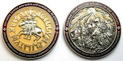Templar MMXI Geocoin (II) Foggy Gold / Antik Silber LE