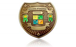 Geocaching Ortungsdienst Badge Antik Gold