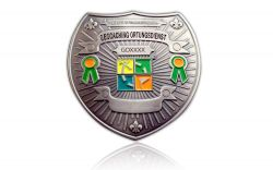 Geocaching Ortungsdienst Badge Antik Silber