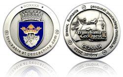 Geoquest Geocoin 2010 Antik Silber