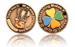Happy Caching - Chimney Sweeper Geocoin Antik Gold