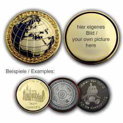 MyWorld Geocoin mit individuellem Foto (Poliertes Gold/Blau)