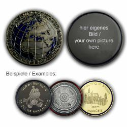 MyWorld Geocoin mit individuellem Foto (Black Nickel/Blau)
