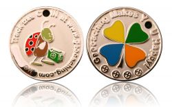 Happy Caching - Ladybird Geocoin Foggy Silver