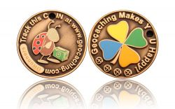 Happy Caching - Ladybird Geocoin Antik Gold