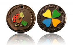 Happy Caching - Ladybird Geocoin Black Nickel