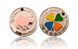 Happy Caching - Pig Geocoin Foggy Silver