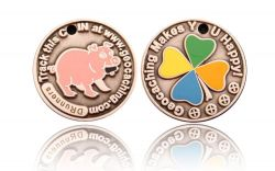 Happy Caching - Pig Geocoin Antik Silber