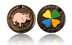Happy Caching - Pig Geocoin Black Nickel