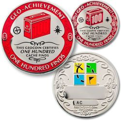 100 Finds Geo Achievement Award Set incl Pin