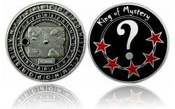 King of Mystery Geocoin Antik Silber