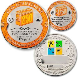 250 Finds Geo Achievement Award Set incl. Pin