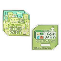 Block Party Geocoin 2011 Poliertes Silber