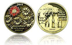 Save our Playing Field 2011 Geocoin Antik Bronze