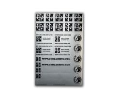 original Geocaching.com sticker sheet silver