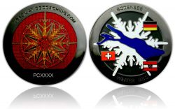 Winter BBQ Geocoin Black Nickel Red