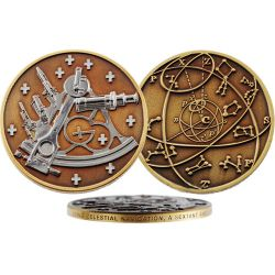 Sextant Geocoin antique bronce/silver