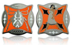 Zecken Geocoin Poliertes Silber ORANGE LE