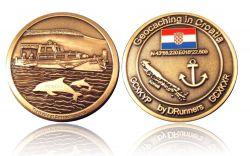 Croatia Caching Geocoin Antik Gold