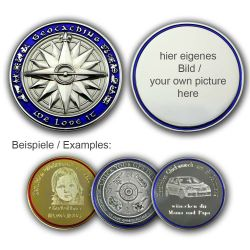The MY OWN Geocoin with individual Photograph (pol. silver/blue)