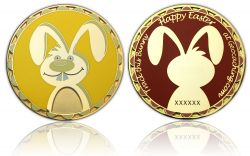Easter Bunny Geocoin Gold Gelb / Rot LE