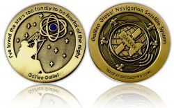 Galileo GPS Geocoin Antique Gold