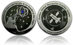 Galileo GPS Geocoin Black Nickel / Silver