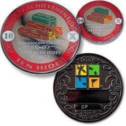 Geo-Achievement® 10 Hides Geocoin Set (incl. Pin)