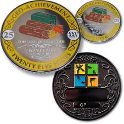 Geo-Achievement? 25 Hides Geocoin Set (inkl. Pin)
