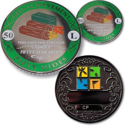 Geo-Achievement? 50 Hides Geocoin Set (inkl. Pin)