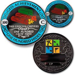 Geo-Achievement? 100 Hides Geocoin Set (inkl. Pin)
