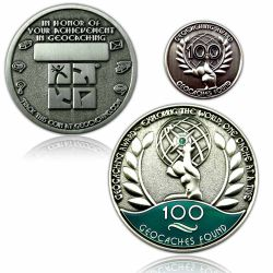 Geo Award Geocoin - 100 Finds Set (inkl. Pin)