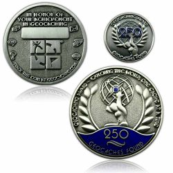 Geo Award Geocoin - 250 Finds Set (inkl. Pin)