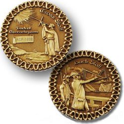 Cross Staff and Back Staff Geocoin Antik Gold