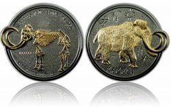 Mammut Geocoin Poliertes Silber / Gold LE