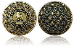 The Colors of Geocaching Geocoin -CONCENTRATION- Antique Gold