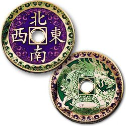 Chinese Dragon Geocoin - Poliertes Gold