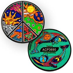 Peace Night and Day Geocoin - Black Nickel
