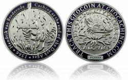 Medieval Caching Geocoin Antik Silber / Poliertes Silber LE