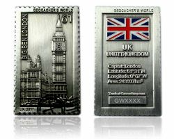 Geocacher's World Geocoin -UNITED KINGDOM- Antik Silber