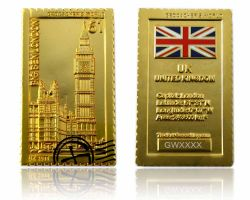Geocacher's World Geocoin -UNITED KINGDOM- Satin Gold LE