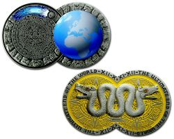 Weltuntergang Geocoin Antik Silber