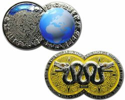 Weltuntergang Geocoin Poliertes Silber LE 100