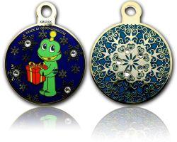 Signal Christmas Geocoin Poliertes Gold Smaragd LE