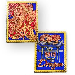 Year of the Dragon 2012 Geocoin Poliertes Gold
