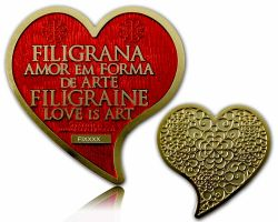 Filigrana Love Geocoin Satin Gold Rubin