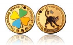 Happy Caching - Cat Geocoin Foggy Gold