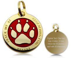 Cacher's Dog Geocoin Poliertes Gold ROT