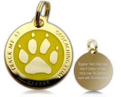 Cacher's Dog Geocoin Polished Gold YELLOW