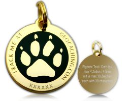 Cacher's Dog Geocoin Poliertes Gold SCHWARZ